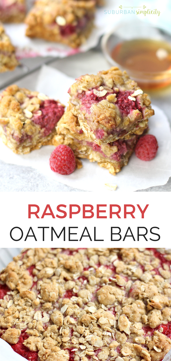 These Raspberry Oatmeal Bars are a must try! You'll love this easy recipe that has a few simple ingredients that come together to make a delicious crust and crumble layered with fresh raspberries. With whole grains and minimal sugar, they're a healthier option for a grab-n-go breakfast or tasty snack! #baking #oatmealbars #raspberryrecipes