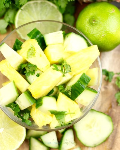 Fresh pineapple salad in a bowl ready to be served.