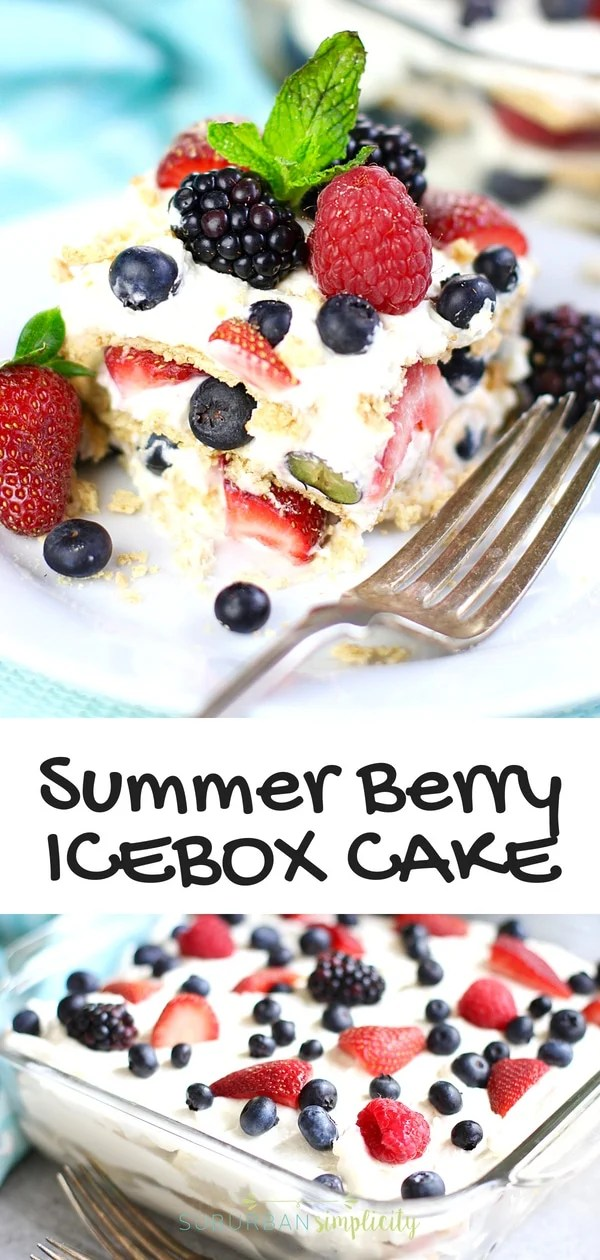 You'll love this Easy Summer Berry Icebox Cake recipe! Layers of sweet whipped cream with a hint of lemon, graham crackers, and fresh berriescome together to make a delicious no bake summer dessert! #nobake #summer #easydesserts