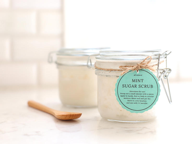 This Mint Sugar Scrub is so refreshing and very exfoliating! An easy and luxurious DIY that can made at home for pennies!