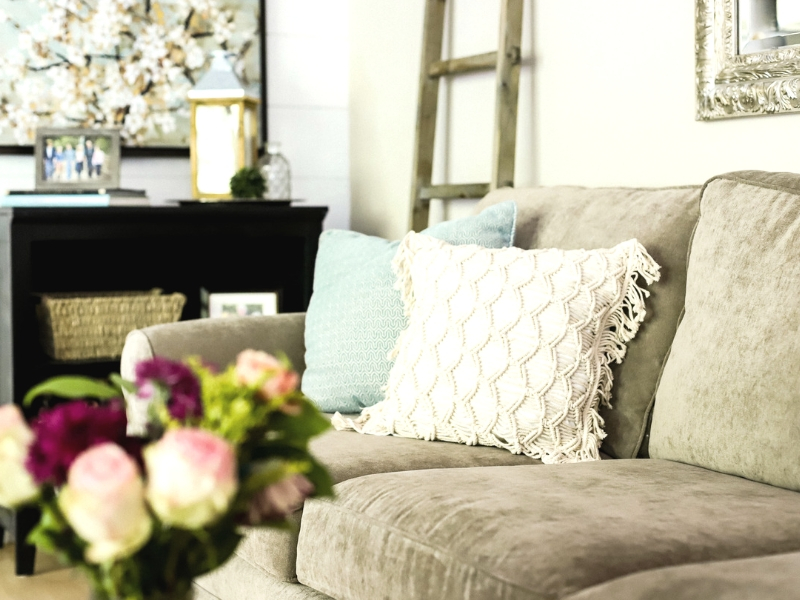 Living room decorating on a budget with pillows.