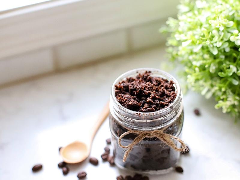 Coffee Sugar Scrub with a spoon.