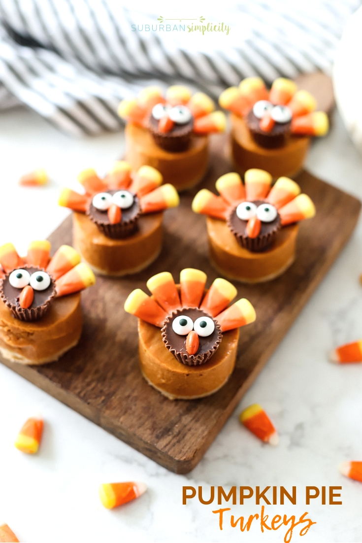 Here's the cutest Thanksgiving dessert! Pumpkin Pie Turkeys! Easy to make and easy to eat! Kids and grown ups love this pumpkin pie treat! #suburbansimplicity #turkey #thanksgiving #thankgivingrecipes #thanksgivingtreats #pumpkinpie