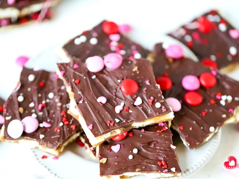Valentine's Day Saltine Toffee on a plate.