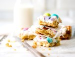Spring Confetti Cookie Bars stacked together.