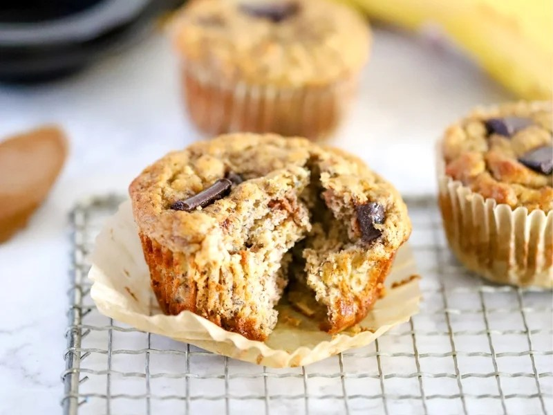 Three Banana Almond Butter Muffins