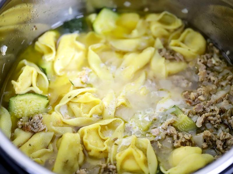 Instant Pot Tortellini cooked in pressure cooker.