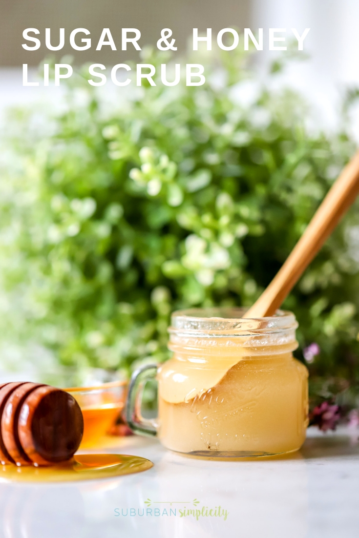 Make a homemade DIY Sugar and Honey Lip Scrub in minutes! With a few simple natural ingredients you can get rid of dry, flakey lips! #suburbansimplicity #sugarscrub #lipscrub #sugarandhoneylipscrub #diy #beauty