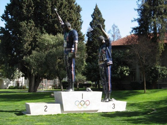 Black Power Salute statue in San Jose, California.