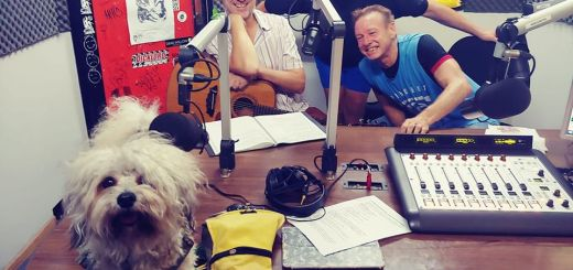 Whoopee-do Crew in the studio with Claude Anarchy Dog.
