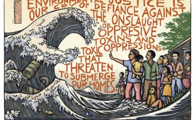 "Mutual Aid Disaster Relief Artwork by Ricardo Levins Morales In this piece, people stand up against a tidal wave of environmental destruction. ""Environmental justice is our cry of defiance against the onslaught of oppressive toxins and toxic oppressions that threaten to submerge our homes."" The costs of this tidal wave are borne most heavily by the poor, Indigenous people, and people of color. Air, water, and people all need protection. (Yes, this illustration is a spinoff of the famous ""Great Wave"" print by Japanese artist Hokusai.) #environmentaljustice #justrecovery"