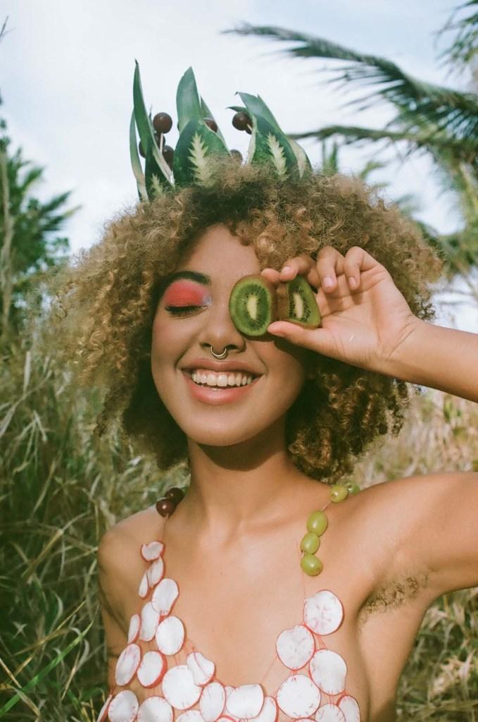Wearable fruit art shot by Sahar Nicolette.