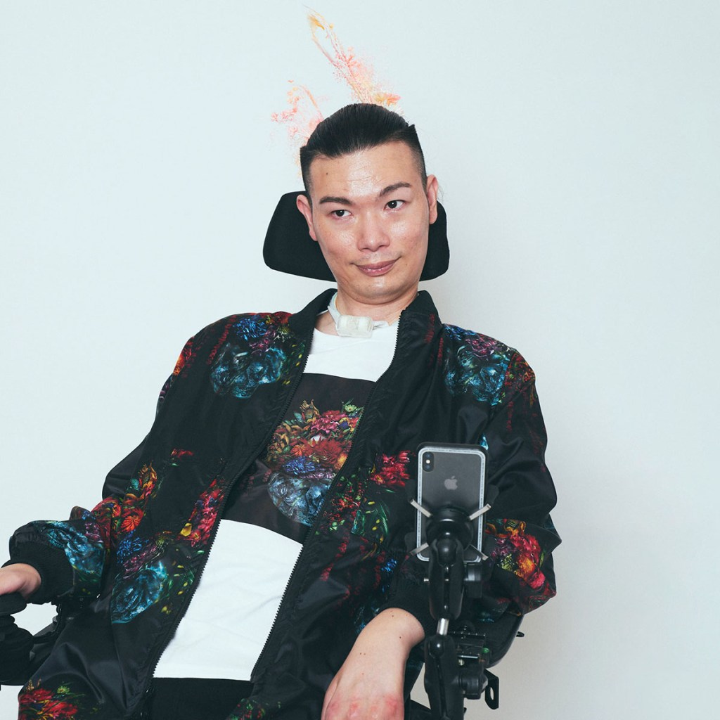 Masatane Muto: a participating disabled model and a DJ with ALS who plays music with his eyes.