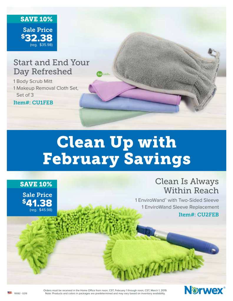 norwex, february 2019, customer special, body mitt, makeup remover cloths