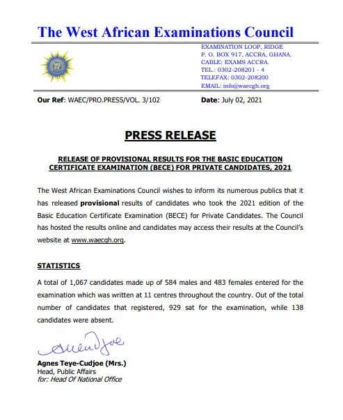 waec-releases-results-of-2021-for-bece-private-candidates