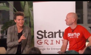 Karina Storinggaard (think yellow) at Startup Grind Zurich w/ David Butler