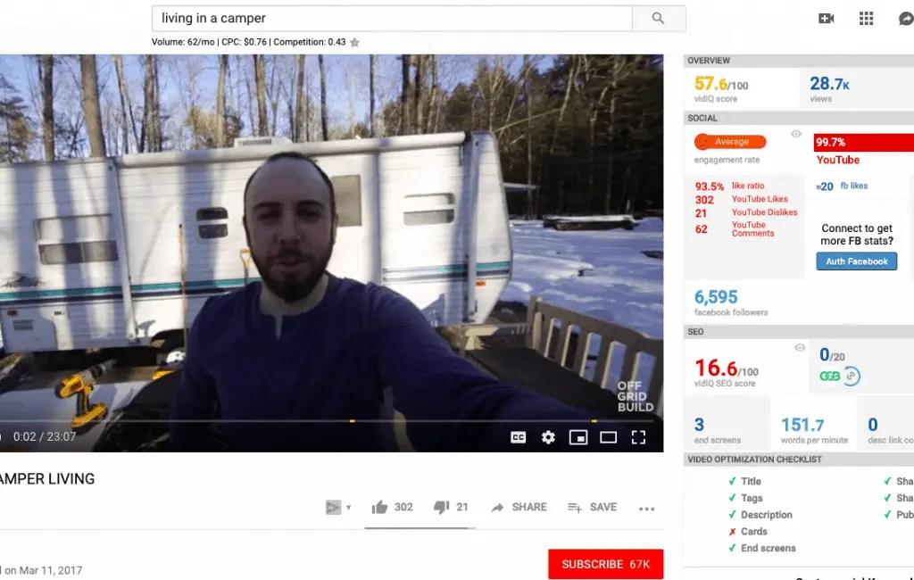 living in a camper van VidIQ stats