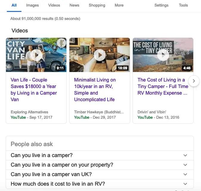 camper van google results - video