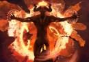 Imagen del diablo, de lucifer, de satanas, rodeado en llamas
