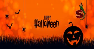Arte de feliz halloween con fondo naranja y calabazas negras