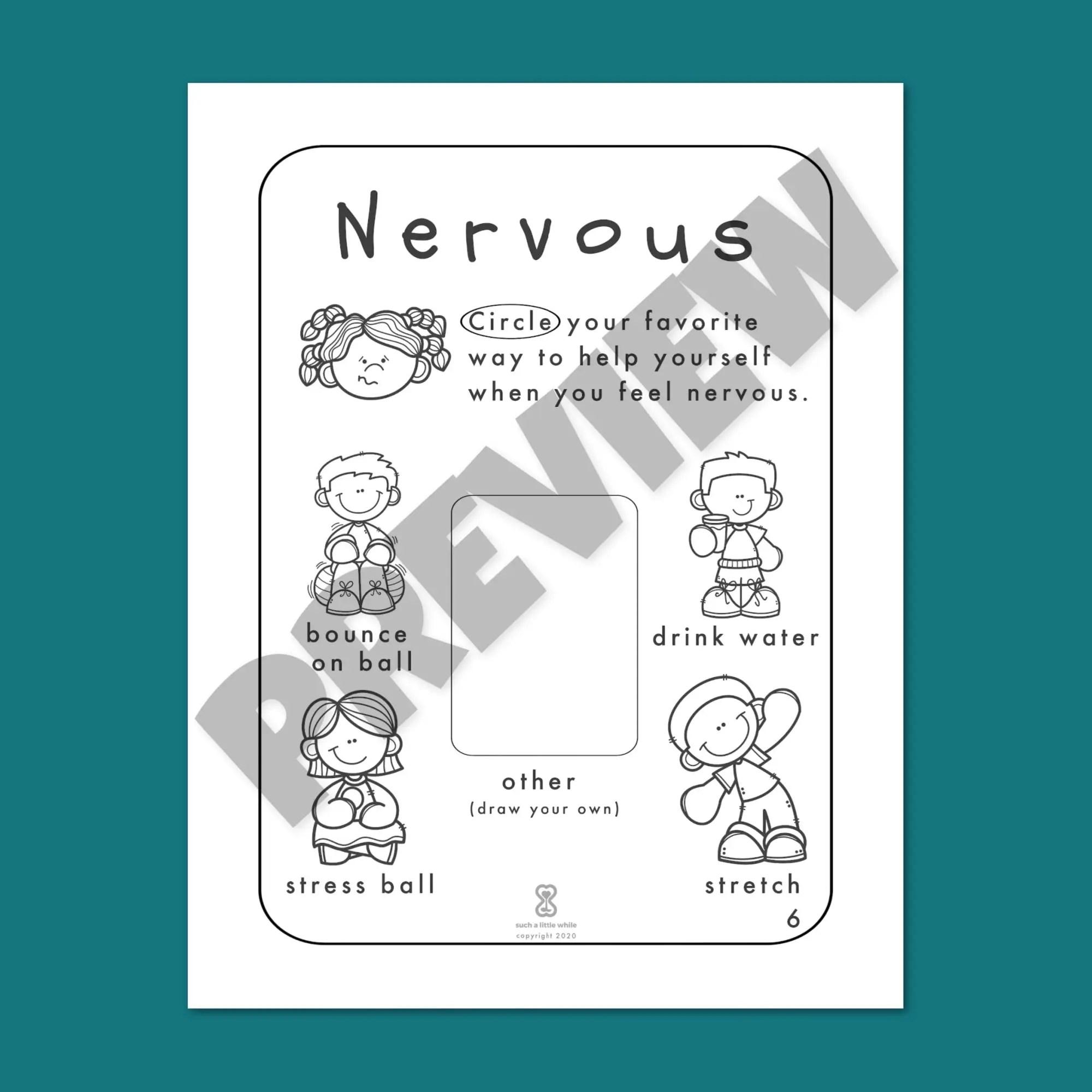 It S Okay To Feel Nervous Printable Pre K Anxious