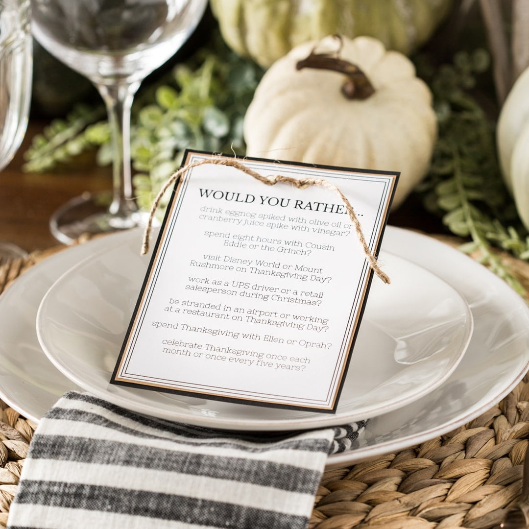 Free Printable Thanksgiving Dinner Table Activity