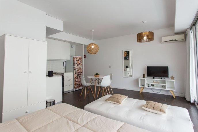 Alojamiento de Sucre Suites vista de la cama.