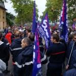 une manifestation sapeurs pompiers du syndicat sud