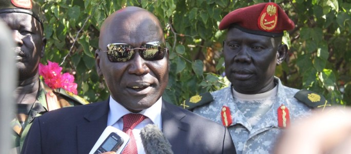 South Sudan former army chief an leader of South Sudan United Front/Army - SSUF/A, General Paul Malong Awan speaking to the press in 2016 in Juba [Photo by unknown]
