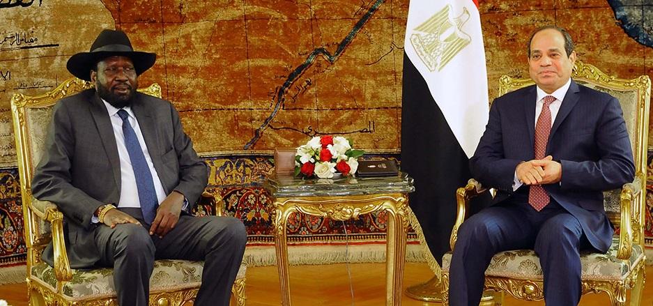 South Sudan President Salva Kiir Mayardit, left, meeting Egyptian president Abdel Fattah el-Sisi, right, in Cairo in 2018 [Photo via Middle East Monitor]