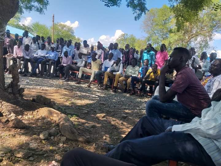 Juba University students gather shortly before protests on Friday [Photo via Facebook]