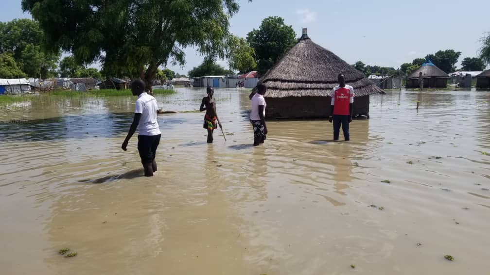 Part of Bor town seen in floods [Photo by Jacob Aluong]
