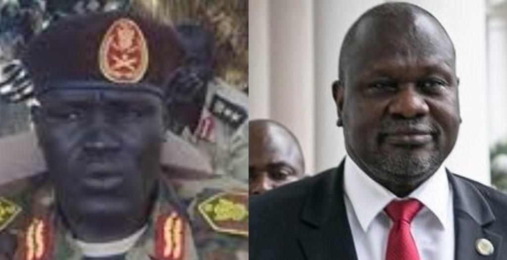 General Johnson Olony Thabo and SPLM-IO Chairman Dr. Riek Machar Teny [Photos via Facebook/Getty Images]