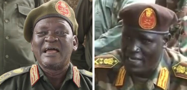 SPLA-IO chief of staff General Simon Gatwech Dual and Sector one commander General Johnson Olony [File photo]
