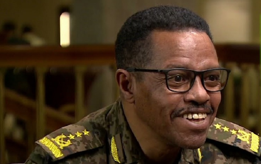 General Buta Bachata Debele, the Director of the Engineering Department at the Ethiopian Ministry of Defense speaking to RT Channel. [Photo screen grab from YouTube/RT]