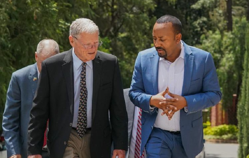 Senator Jim Inhofe (left) walks with Prime Minister Abiy Ahmed as he arrives in Addis Ababa [Photo via Twitter]