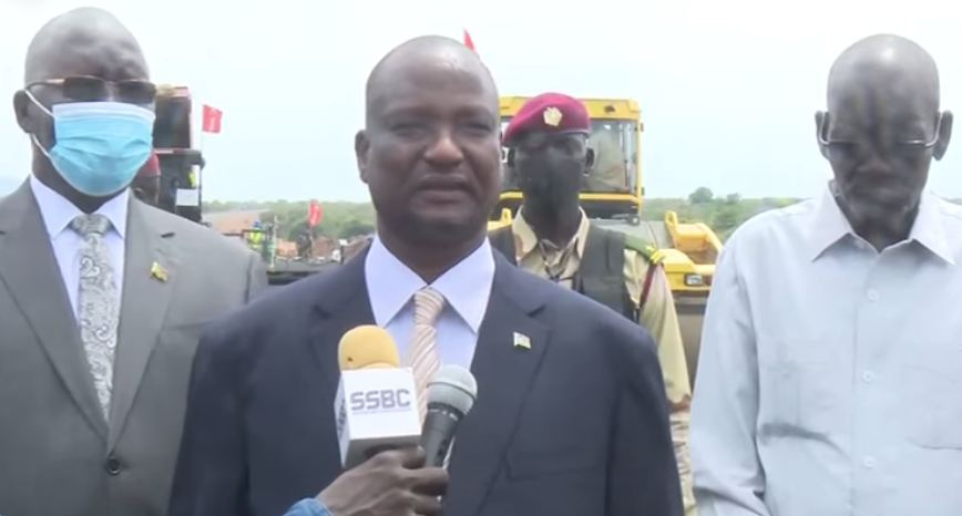 Vice-president Taban Deng Gai speaking to reporters following a visit to the construction site of the Juba-Bahr el Ghazal Highway. [Photo via SSBC]