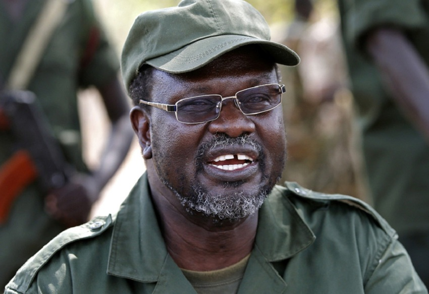 South Sudan's then rebel leader Dr. Riek Machar talks to his men in a rebel-controlled territory in Jonglei State January 31, 2014. [Photo by Goran Tomasevic/REUTERS]