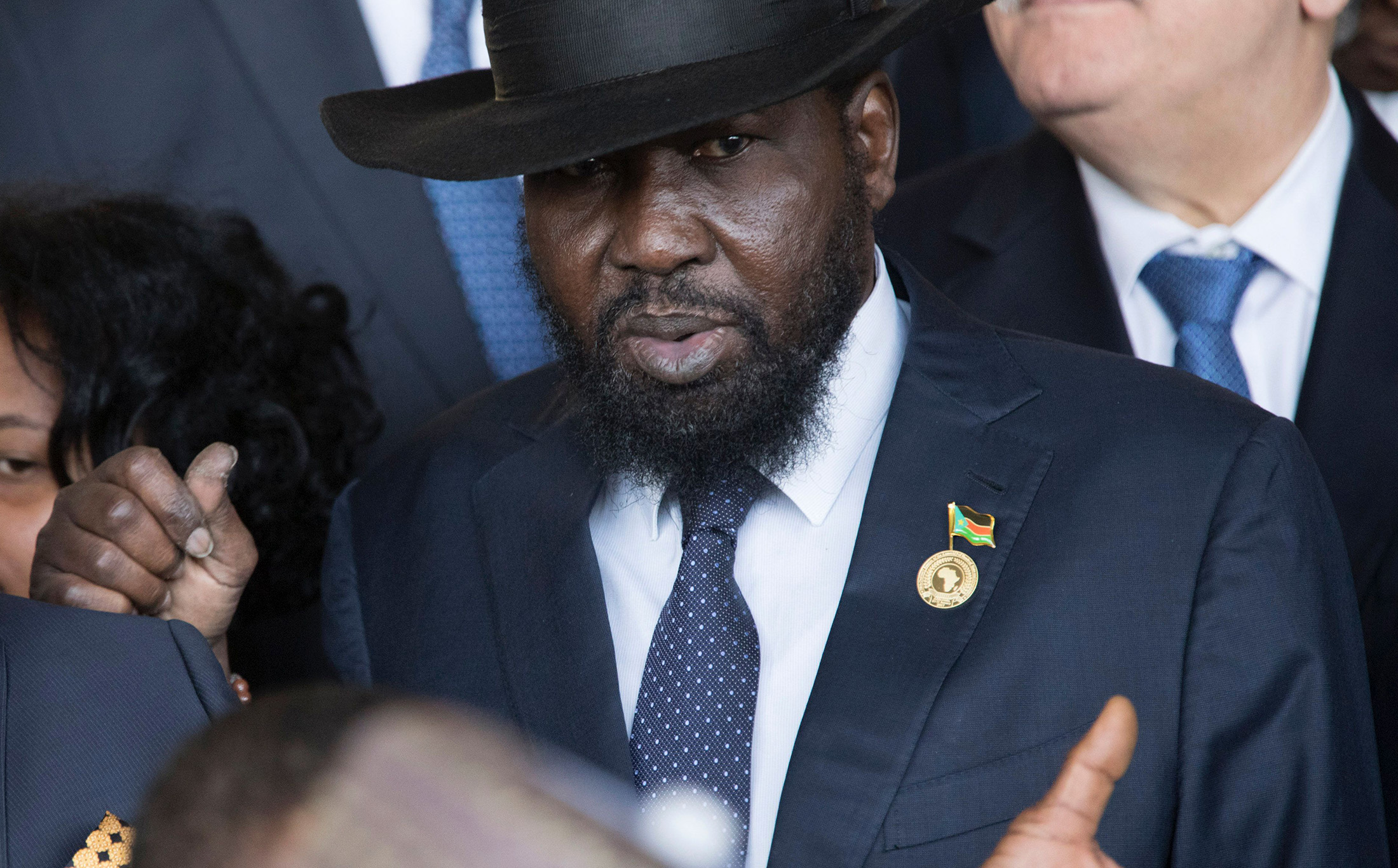 President Salva Kiir Mayardit arrives for the 28th African Union summit in Addis Ababa on January 30, 2017. [Photo by Zacharias Abubeker/AFP/Getty Images)