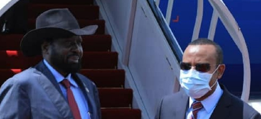 President Salva Kiir being received by Ethiopian Prime Minister Dr. Abiy Ahmed at Bole International Airport. [Photo by Ethiopian Press Agency]