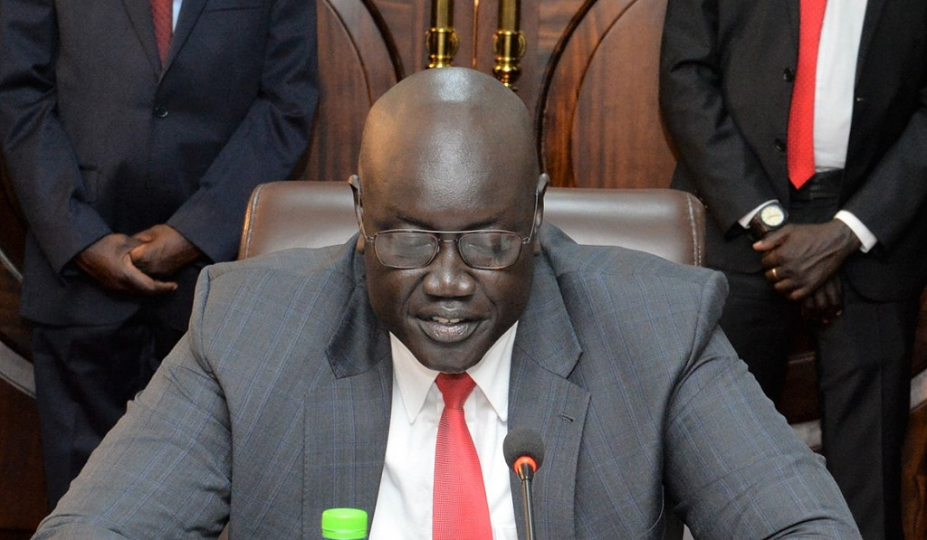 South Sudan's newly-appointed minister of foreign affairs Mayiik Ayii Deng speaking during his swearing in ceremony at the state-house J1. [Photo by presidency]