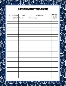 Anchor Assignment Sheet