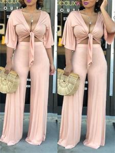 Tie up pant set in apricot