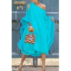 Blue batwing dress