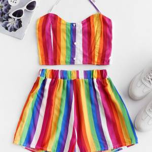 Colorful striped short set