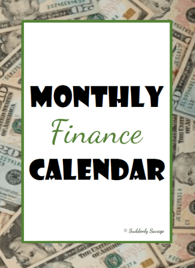 Monthly Finance Calendar
