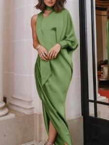 Green one shoulder choker dress