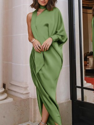Green one shoulder choker dress