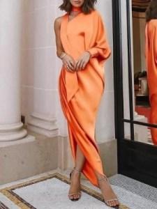 Orange one shoulder choker dress