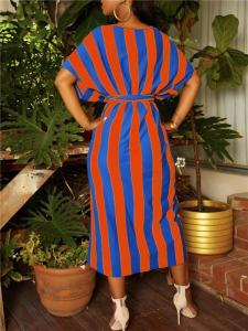 Orange and Blue striped dress with belt